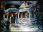 LED CANVAS PICTURE HOUSE AND SNOWMAN DF15461